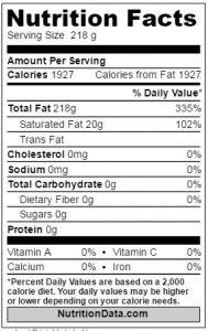 तीसी के पोषण तथ्य