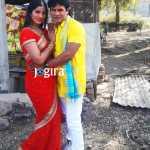 poonam dubey and satendra singh shooting photo bhojpuri film ghaat